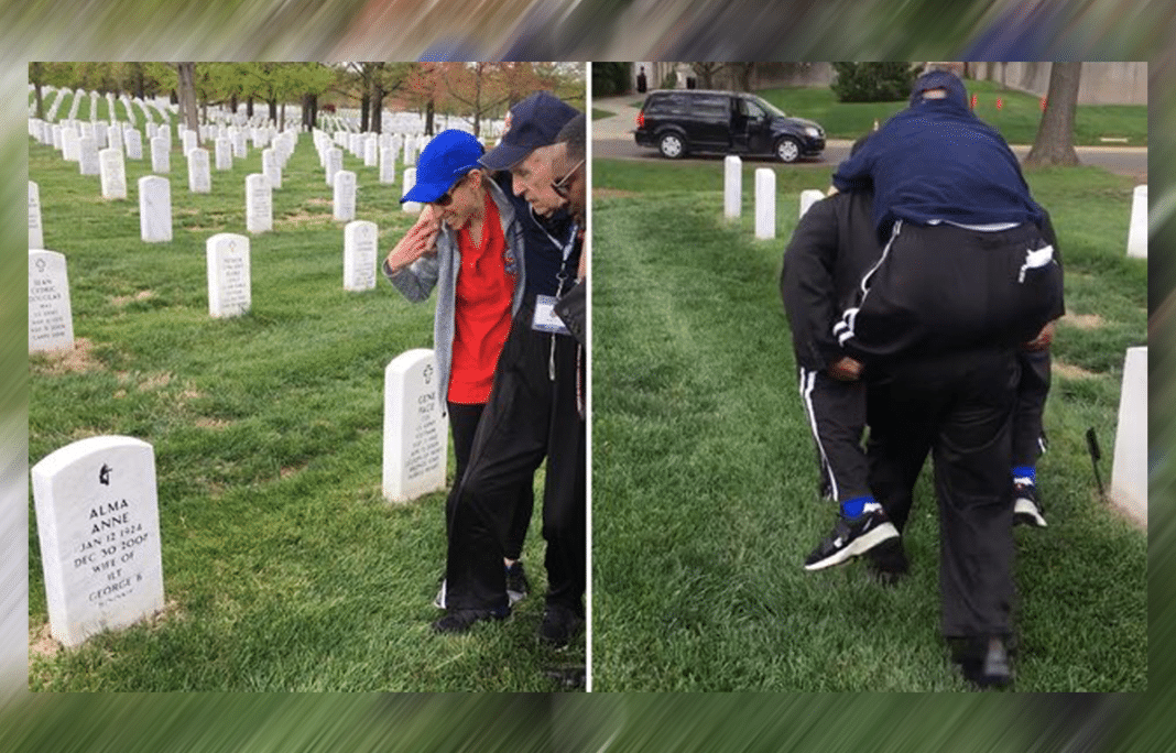 96-Year-Old WWII Veteran Unable To Walk To Wife's Grave – That's When Stranger Comes Forward