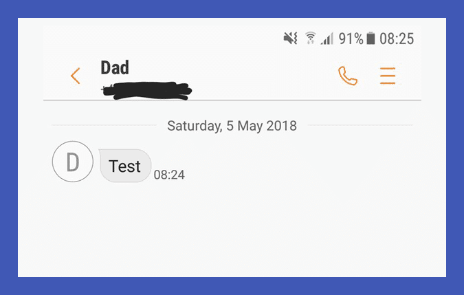 The text message Stephen got from his Dad's phone.