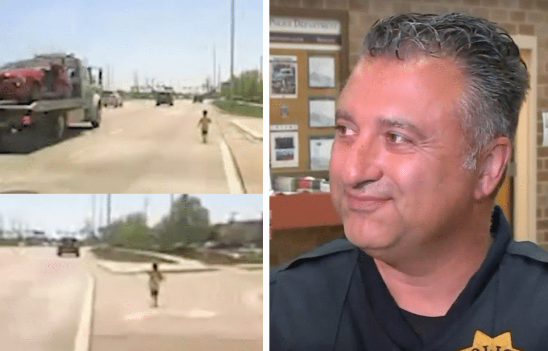 Police Officer Chases Toddler Running Down Busy Highway To Save Him From Certain Death