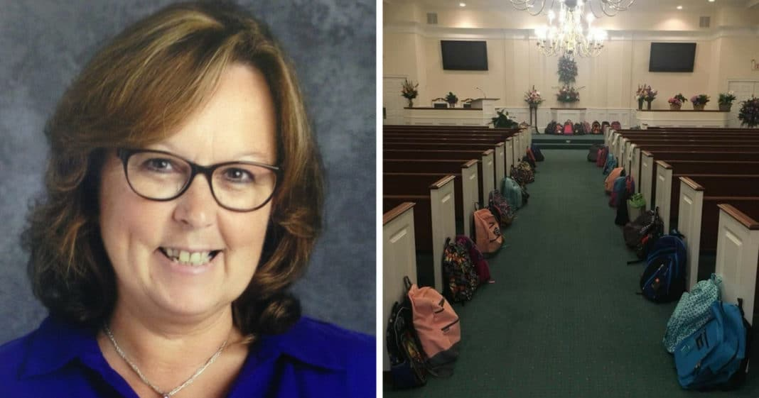 Backpacks Filled With Supplies Line Church's Aisle As Teacher's Dying Wish Fulfilled At Funeral