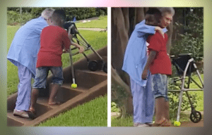 Maurice Adamas Jr. helps woman up the stairs