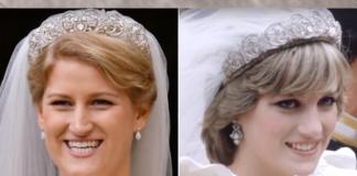 Princess Diana in the Spencer tiara with Celia McCorquodale