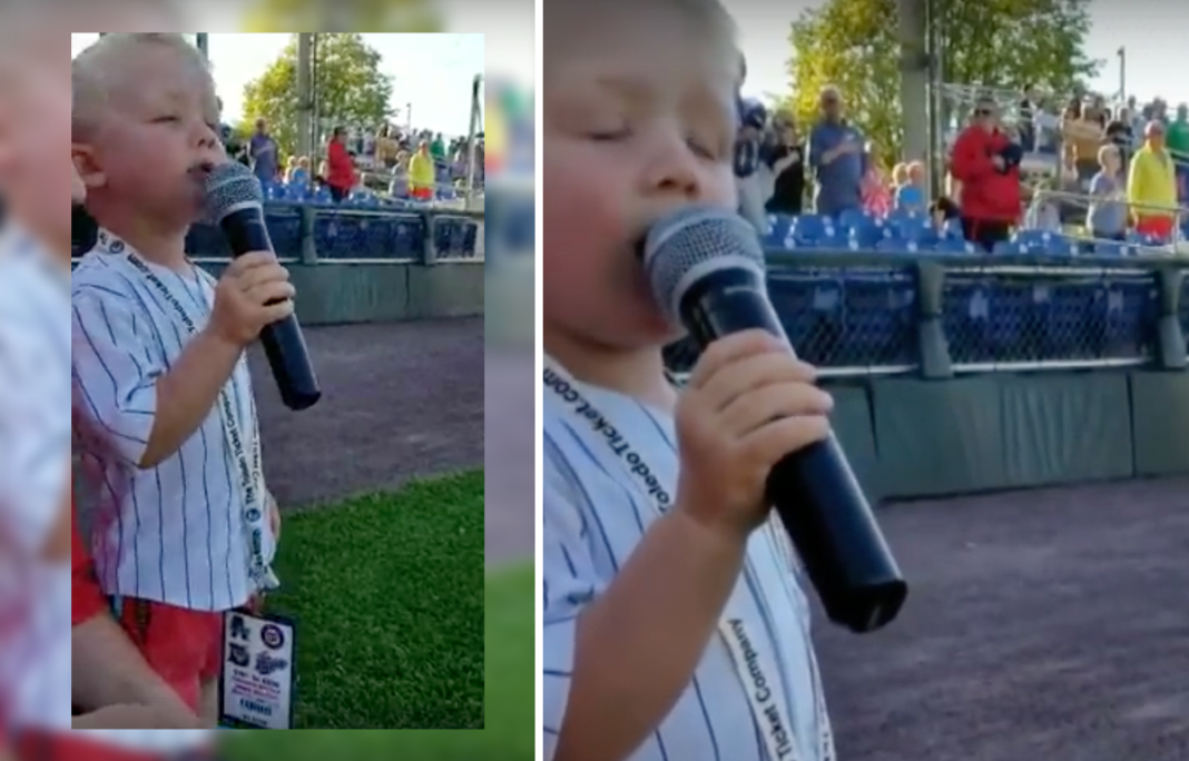 Brave 3-year-old sings national anthem at baseball game – only to have entire crowd on their feet
