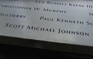 Scott Michael Johnson's name as it appears the South Memorial Pool.