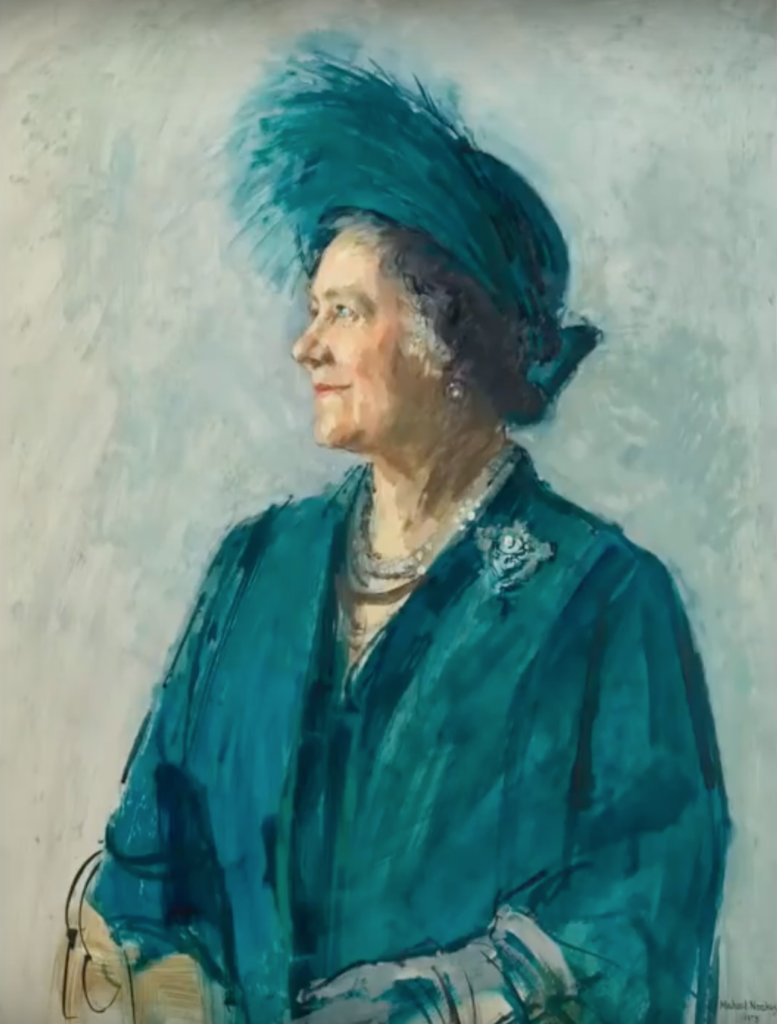 The Queen Mother oil sketch by Michael Noakes via YouTube