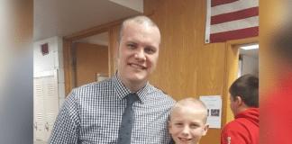 Principal Tim Hadley and Jackson Johnston