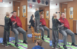 Jackson shaves the principal before his classmates
