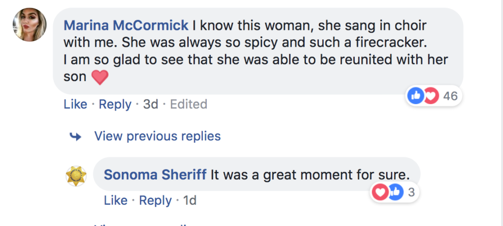 Sonoma Sheriff's Department comments on Facebook