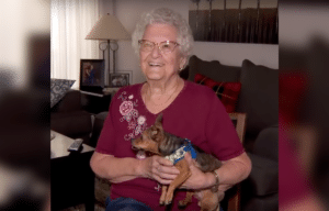 Mary Watkins and her chihuahua