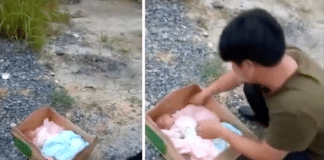 Baby found in box in Hechi city