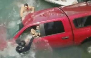 truck in water