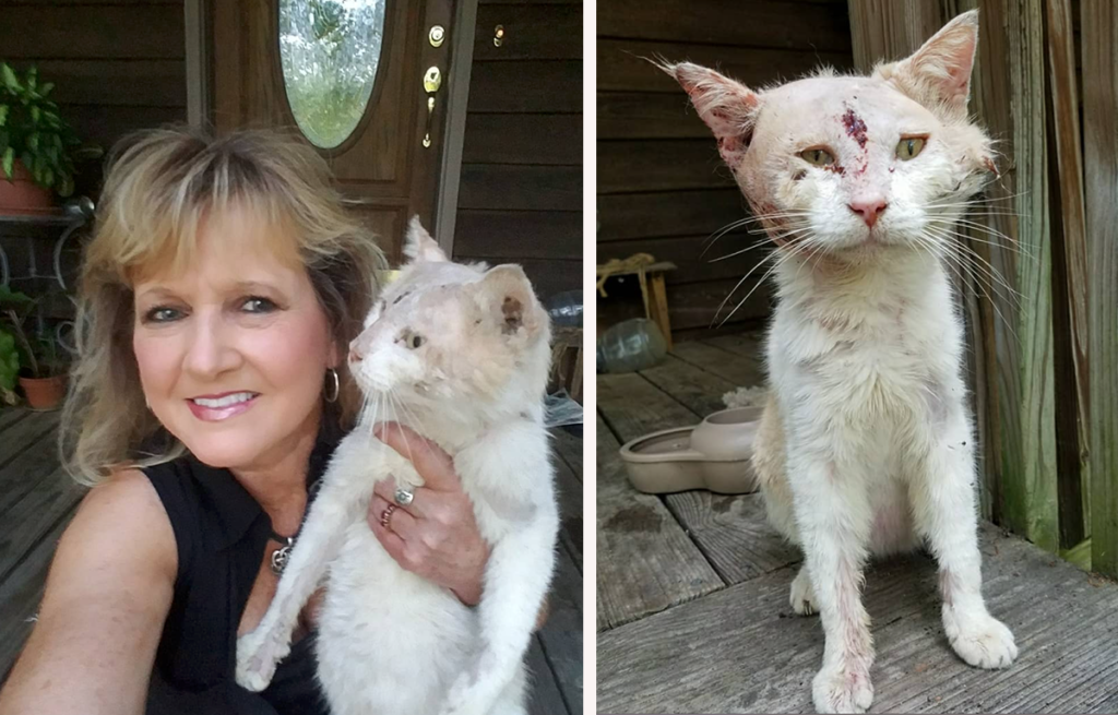 Pam Latham with Battle Cat