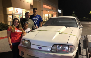 Ryan family with 1993 Ford Mustang, Christine