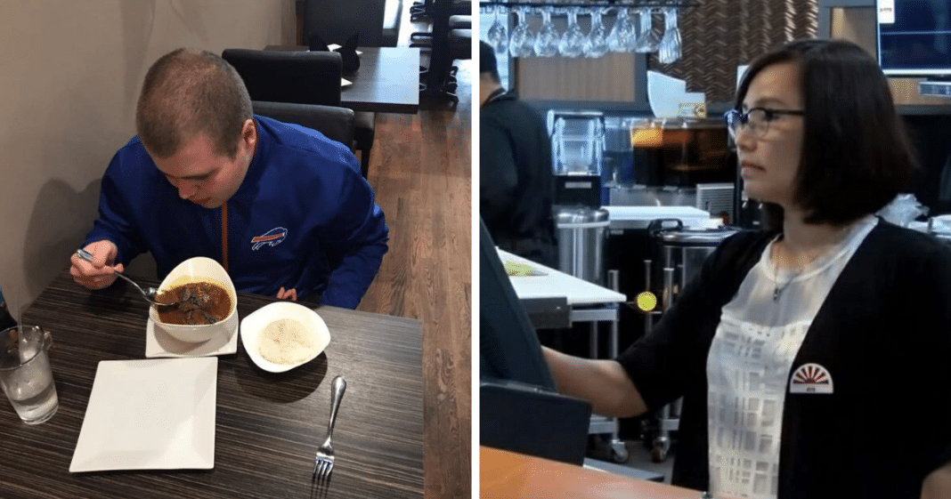 Dad sends autistic son into restaurant to pick up a take-out menu. Hostess offers stunning treatment