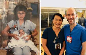 Vilma Wong with Brandon Seminatore then and now
