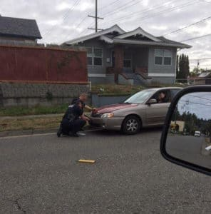 The officers install her plates via Facebook
