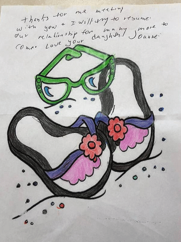 The coloring book page that mother and daughter filled in, along with a note from Joanne