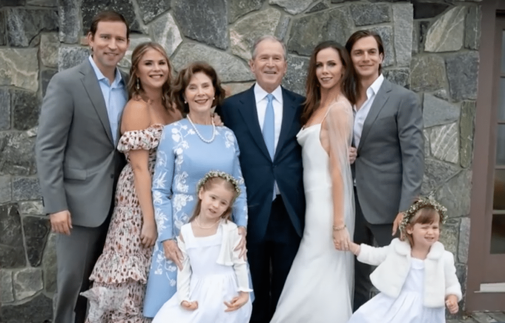 The Bush family in a group photo from the secret wedding