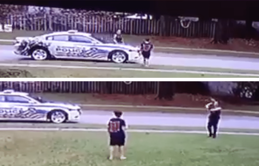 Cop Stops Outside Home After He Spots Young Boy Playing Football Alone In Front Yard
