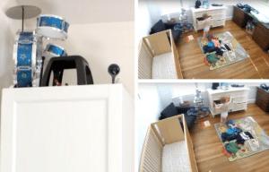 Nanny cam in baby playroom