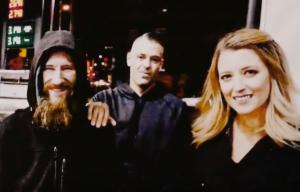 Kate McClure, her boyfriend Mark D'Amico, and the homeless vet, Johnny Bobbitt Jr.