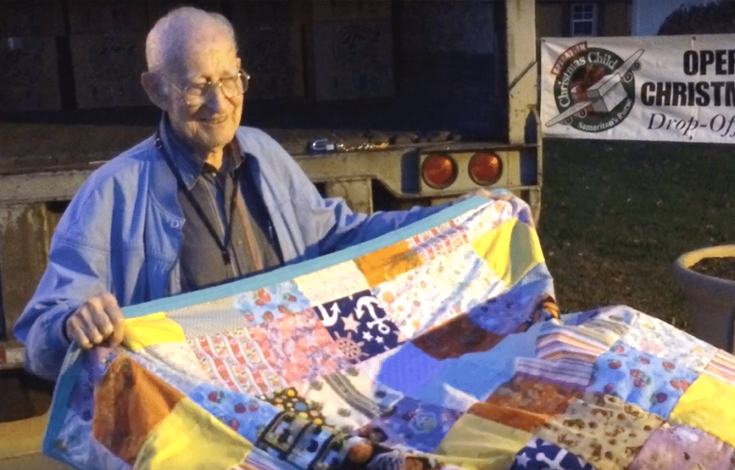 World War II Vet Learned To Sew At 95 And He's Made Over 500 Quilts For Kids In Need By Age 98