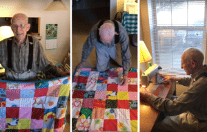 Theron Jennings works on his quilts via YouTube