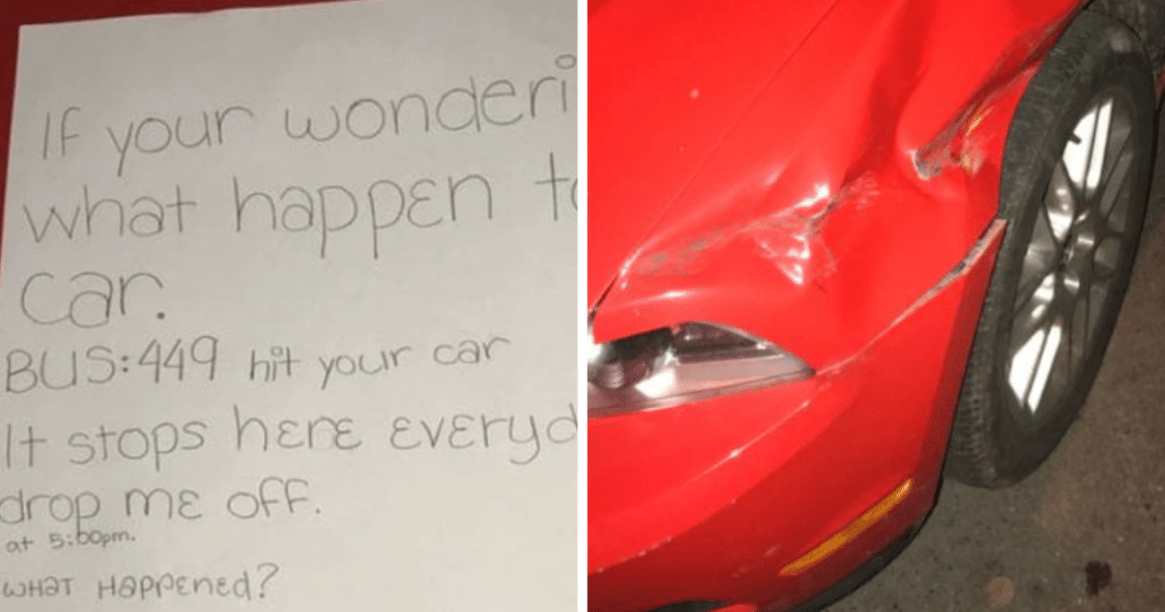 6th Grader Leaves Stranger A Very Detailed Note About Bus Driver Who Hit His Car And Left
