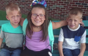 Alivia Stahl, 9, and her 6-year-old twin brothers Xzavier and Mason Ingle