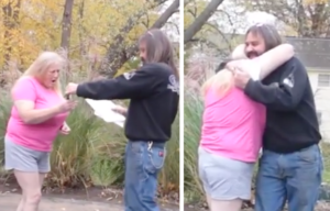 She gets the key and gives the man a big hug