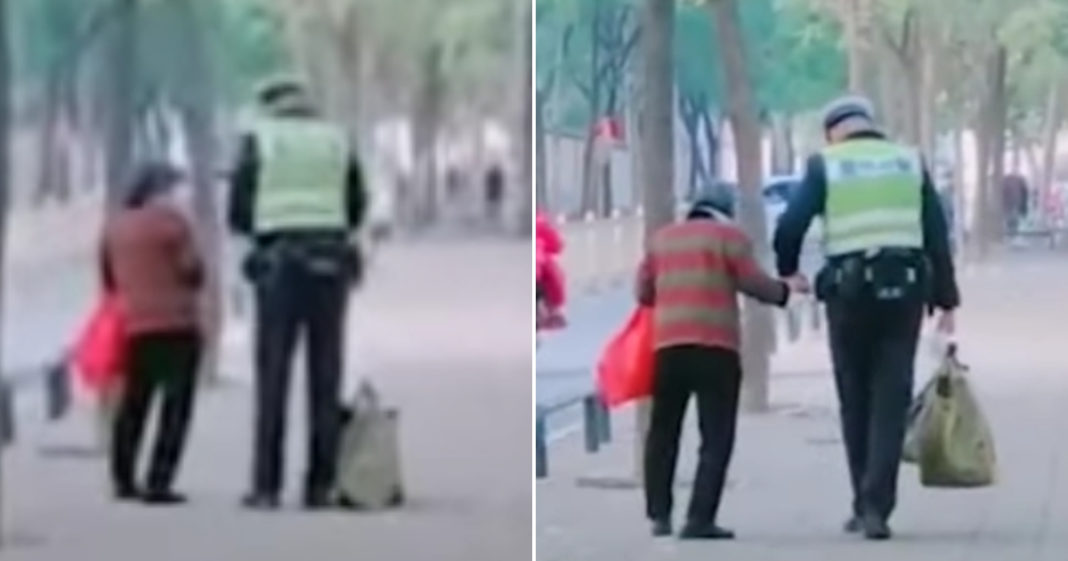Cop Escorts Elderly Woman All The Way Home After Spotting Her Alone And Struggling On The Street