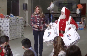 Melania Trump at Toys for Tots event with Santa