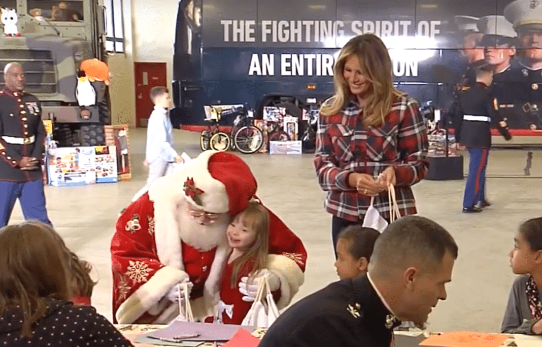 Melania Trump with Santa and Jackie Rodriguez