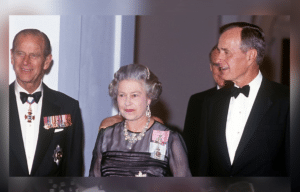 Queen Elizabeth, Prince Philip, George H. W. Bush