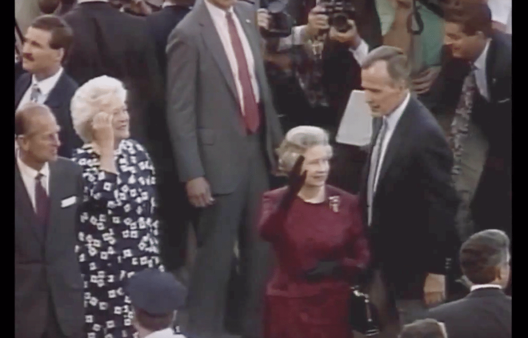 The Queen with President Bush and First Lady Barbara Bush at the Orioles Game in May 1991