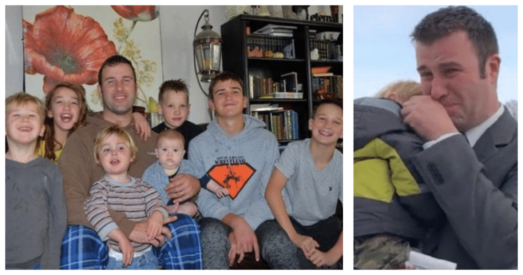 Widowed Dad Of 7 Working 3 Part-Time Jobs Cries As He's Given Unexpected Gift From Secret Santa