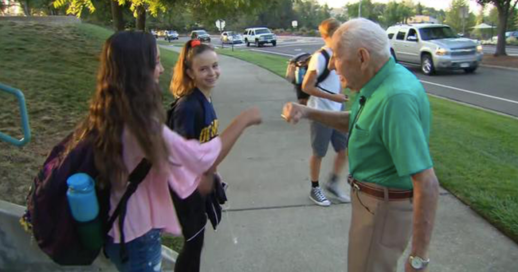 Heartwarming Reason 94-Year-Old WWII Vet Stands Outside Middle School Every Day