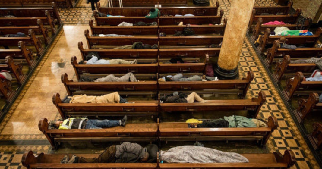 Church opens its doors to 225 homeless people. Gives them safe, warm place to sleep at night