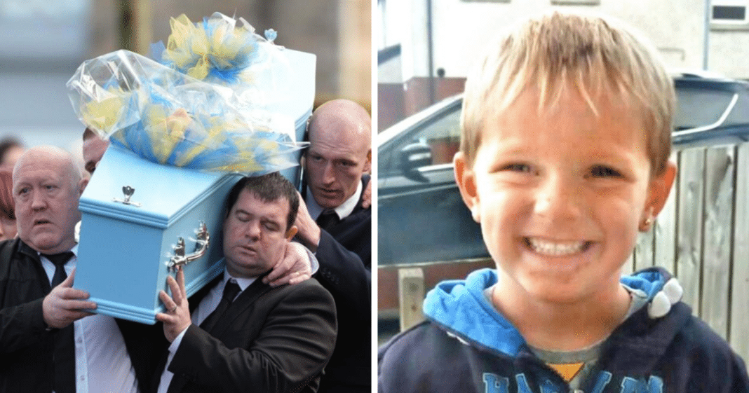 Gut-Wrenching Moment Dad Wipes Away Tears At Funeral For Age 3 Son Tragically Killed