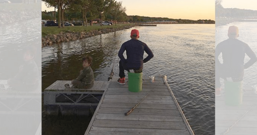 Stranger Spots Father And Son Fishing, Moments Later She Saw The Dad Jumping Into River
