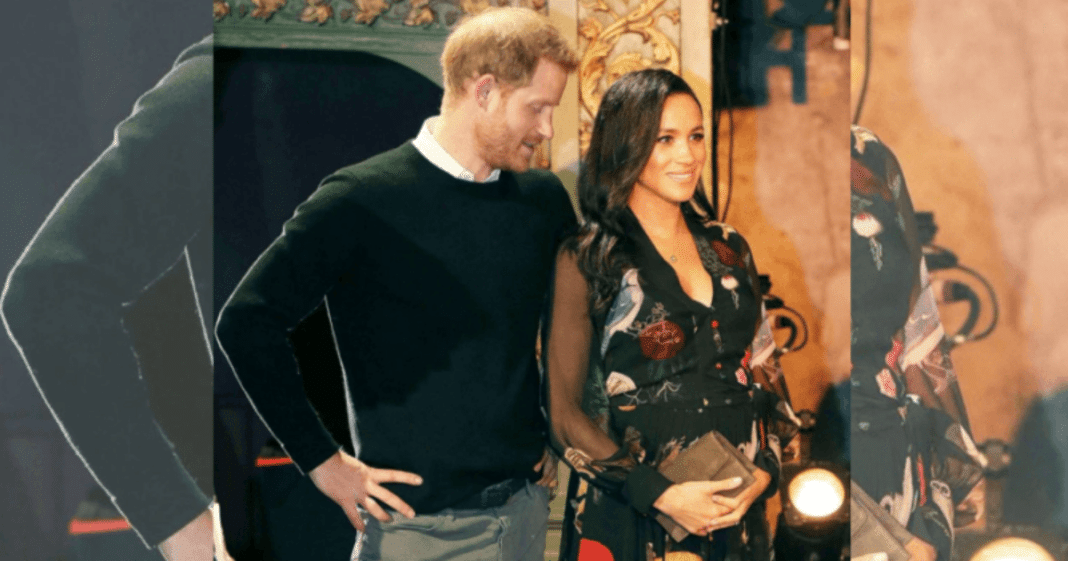Adorable moment Prince Harry can't keep his eyes off pregnant wife's belly as due date approaches