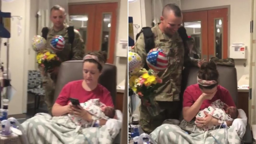 Mom gives birth to twins alone in hospital, 12 days later Army husband sneaks into NICU