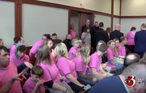 """Family and friends in court supporting """"Justice for Harper Rose"""" via WHNT19"""