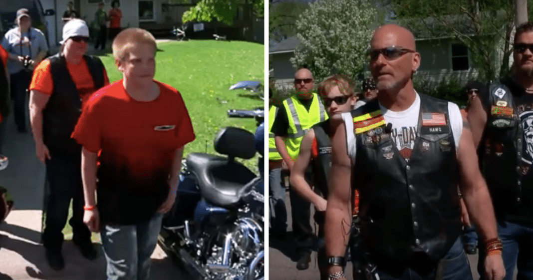 Bikers storm the neighborhood looking for bullied teen who steps outside to confront them