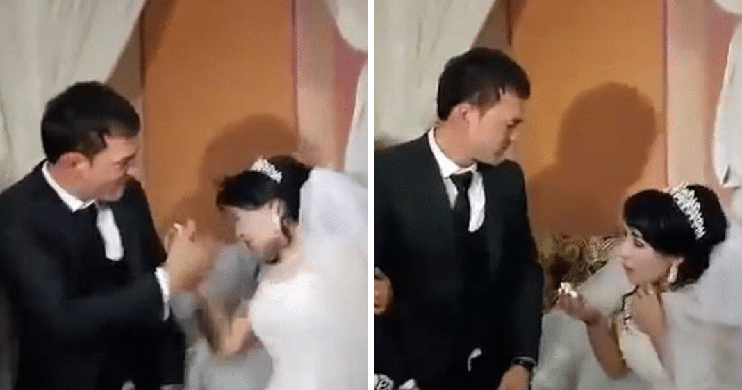 Husband viciously slaps his new bride on wedding day after she teases him with cake