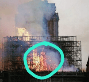 Image shared via Facebook of Notre Dame with a figure in the flames