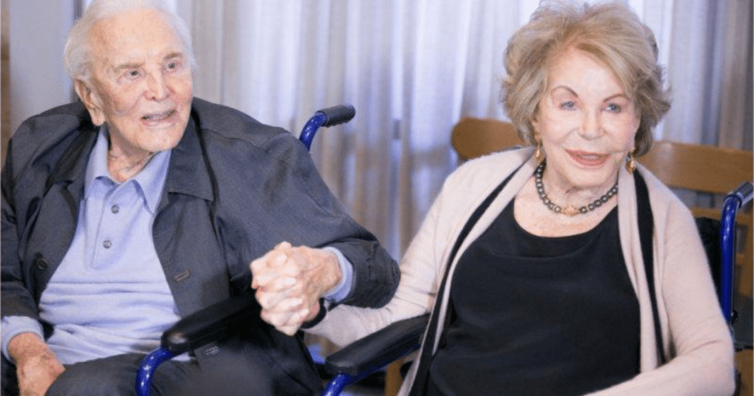 Anne Buydens celebrates 100th birthday with beloved husband Kirk Douglas, 102, by her side