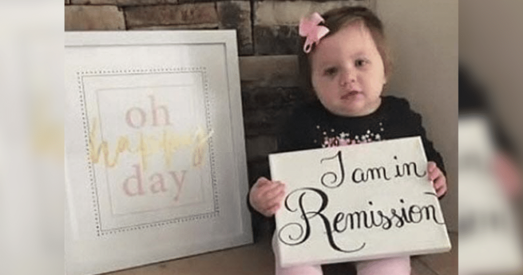 1-year-old girl who beat stage 4 cancer celebrates in sweet photo announcing the news