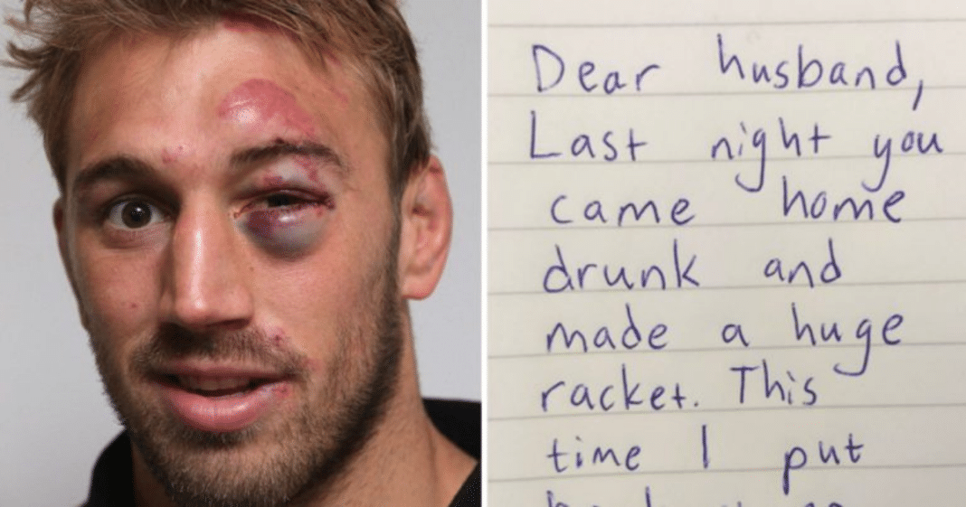 Man wakes up with hangover and a black eye – finds strange note from wife and starts to cry