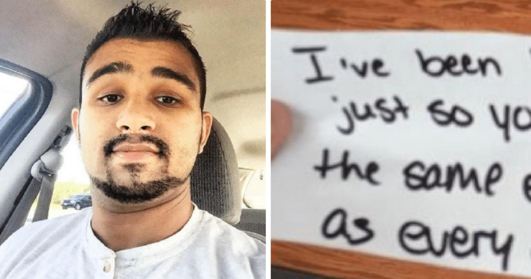 Deaf man overwhelmed when Starbucks employee slips him handwritten note before taking his order
